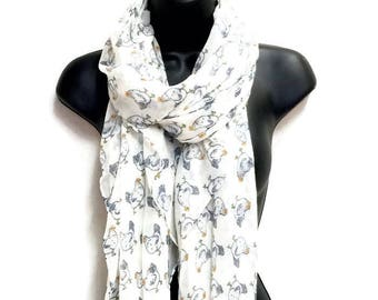 Chickens Pattern White Scarf,Spring Summer Scarf,Autumn Scarf,Gifts For Women,Gifts For Her,Printed Scarf,Christmas Gifts