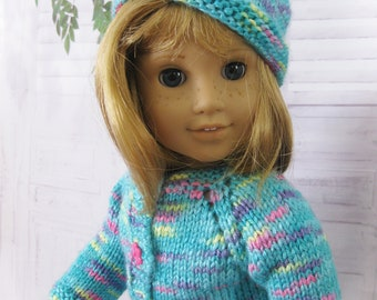 Hand Knit American Made Clothes Sweater Set Fits 18 inch Girl Doll.