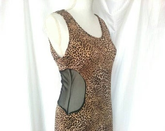 Size L 90s Vintage Leopard/Cheetah Print Maxi Dress with Sheer Back & Sides - Stretchy Body-Hugging Sleeveless Full Length Dress - Animal