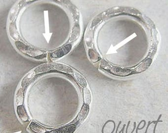 Hammered Silver 925 10 mm jump ring