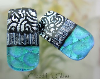 Frosty Aqua Glass Clip Earrings, Fused Glass Jewelry from North Carolina