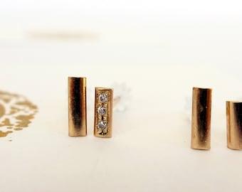Gold Bar. Hand Made 14K Gold Half Dome Bar Earrings. Unisex Man or Woman. Asymmetric Minimal Gold And Diamond Post Earrings. Single Stud.