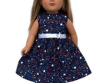4th of July Patriotic Doll Dress, Red, White, Blue, 18 Inch Doll Clothes, Summer Doll Clothes