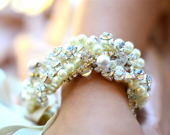 Bridesmaid Bracelet Wedding Jewelry, Pearl & Rhinestone Bracelet, Adjustable With Silk Ribbon and Clasp in White, Ivory, Cream, or Champagne