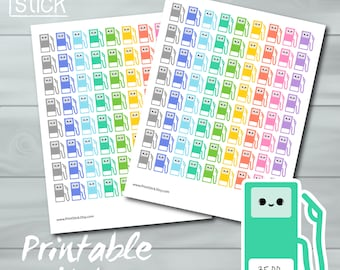 Kawaii Gas Stickers PRINTABLE - Keep track of your gasoline expenses - Erin Condren, Filofax, Happy Planner, Plum Paper or any other planner