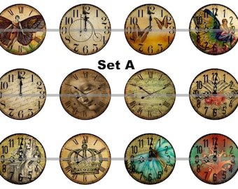 """Clock Pins, Magnets or Flat Back Buttons, 1 inch, 1.25 inch, 2.25"""" inch, Different Designs Available, Choose your Set, Clock Magents"""
