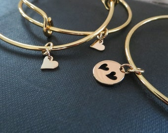 mother daughter bracelets,  heart cutout charm bangle, mother and two daughters jewelry, gold, mother daughter Christmas gifts, set of 3