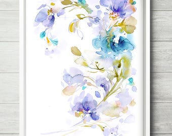 Lily, flower painting, abstract floral art, colorful blue lilac art, purple flower watercolor, watercolor floral print