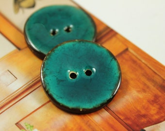 10 Pieces Of  Translucent DarkCyan Enamel Buttons With Coconut Base. 1.10 inch