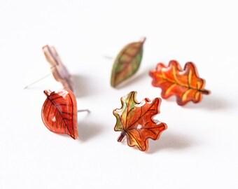 Fall Leaf Earrings Set, mix and match set of autumn leaves, autumn leaf stud earrings, leaf earrings, maple and oak