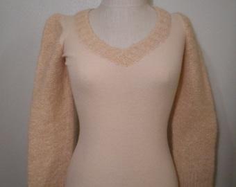 vintage 60s ballet pink knit handmade bishop sleeve v neck sweetheart sweater