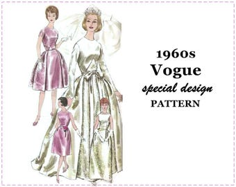 1960s Wedding Dress Sewing Pattern - Vogue 4285 - Bride's or Bridesmaid's Dress, Full Skirt, Over-skirt - Size 12 Bust 32 - Special Design