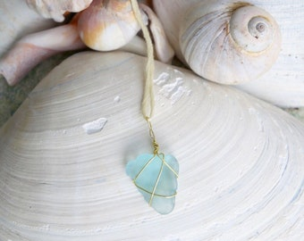 Natural Sea Glass Wrapped in Gold Wire