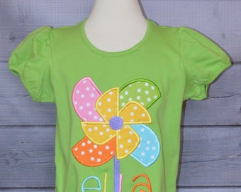 Personalized Pinwheel Applique Shirt or Bodysuit Girl