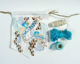 Bird Banner wall hanging. DIY Banner tutorial. Custom Embroidery pattern.Wall art.Home decor. Handmade Wedding Gift. Anniversary.