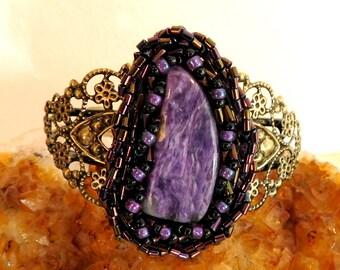 Purple Charoite, Beadwork and Brass Filigree Cuff Bracelet