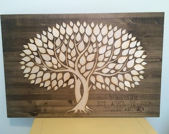 Wedding Guest Book | Alternative 3D | Unique Wedding Guestbook | Twisted Wooden Trees Guest Book | Rustic Wedding | Out Door Wedding