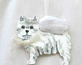 Hand-Painted WESTIE WESTHIGHLAND TERRIER Angel Wood Ornament