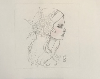 "Girl #4 of ""Girls with Flowers in their Hair Series"", Original Illustrations by Rosanna Pereyra"