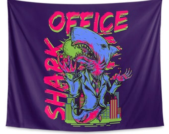 Office Shark Aubergine Purple Wall Tapestry