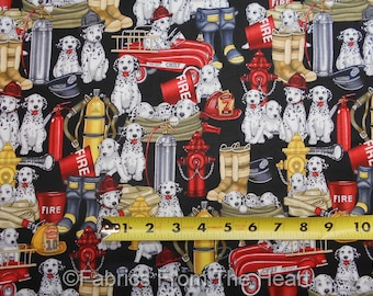 5 Alarm Fire Fighter Equipment Dalmatian Dogs on Black BY YARDS QT Cotton Fabric