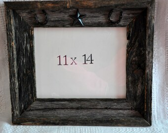 Horseshoe barn wood  11 x 14 frame-  #20