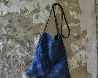 Handbag indigo natural blue green hippie festival  crossbody sustainable rustic minimalist leather earthy kantha sashiko boho yoga bags