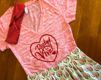 """SMALL - Whimsberry - Red Heart - Rockabilly """"Ready for Viva"""" printed shirt - Pink/Marble Red V-neck - Pin-up style"""