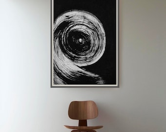 Large abstract art, Modern abstract, black and white art, storm, circles, minimalist art, contemporany ink art, abstract painting,  abstract