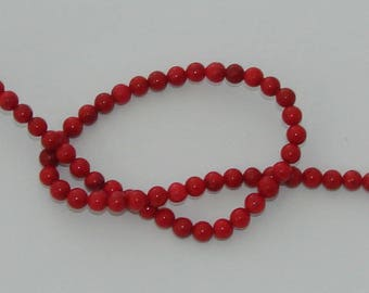 5 beads 6 mm natural howlite Red