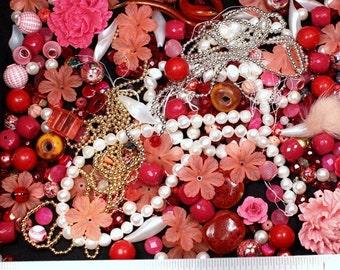 Rose perle blanc rouge soupe perles cabines Cabochons verre Lucite fleurs acryliques maille perles fourrure Agate mère de perle Mix Destash Lot or argent