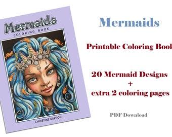 Mermaids Coloring Book PDF Instant Download Printable Files