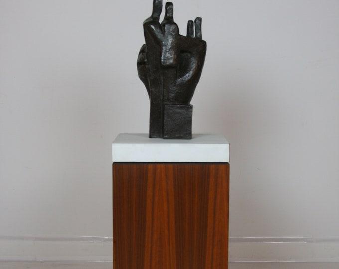 Signed Mid Century Modern HANNA STIEBEL BRASS Floor Sculpture with Wooden Base