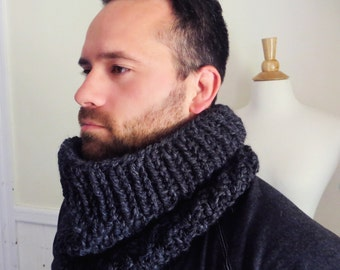 Unisex Knit Cowl. Charcoal