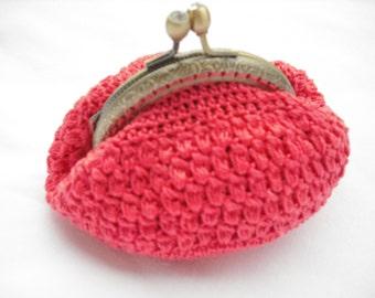 crochet coral color wallet, purse