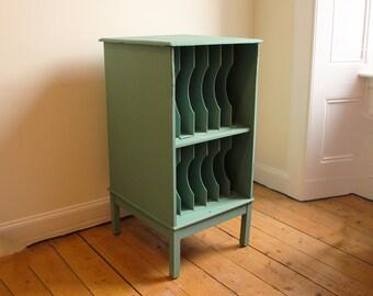 Midcentury filing cabinet in secret garden green
