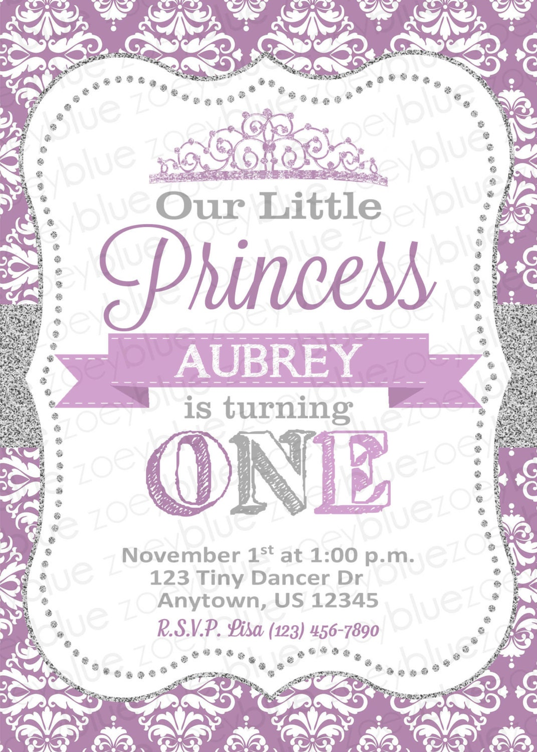 Princess Birthday Invitation Purple Silver Glitter Little Princess ...