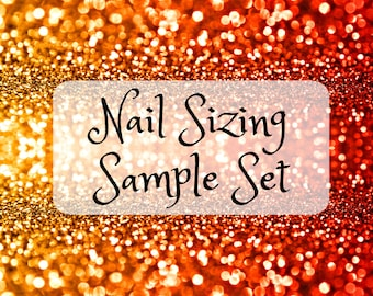 Press On Nail Sizing Set | Coffin, Stiletto, Square, Almond, Oval False Nails | Nail Fitting Sample Set | Extra Long Nail Samples