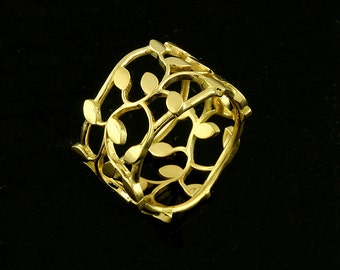 Leaf Women's Wedding Band, Organic Floral Wedding Ring, Nature Inspired Ring, Eternity Leaf Ring, Filigree 14k Gold 12mm Ring