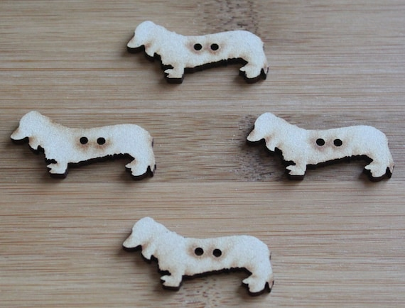 4 Craft Wood Sausage Dog Buttons,  4cm Wide, Laser Cut Wood