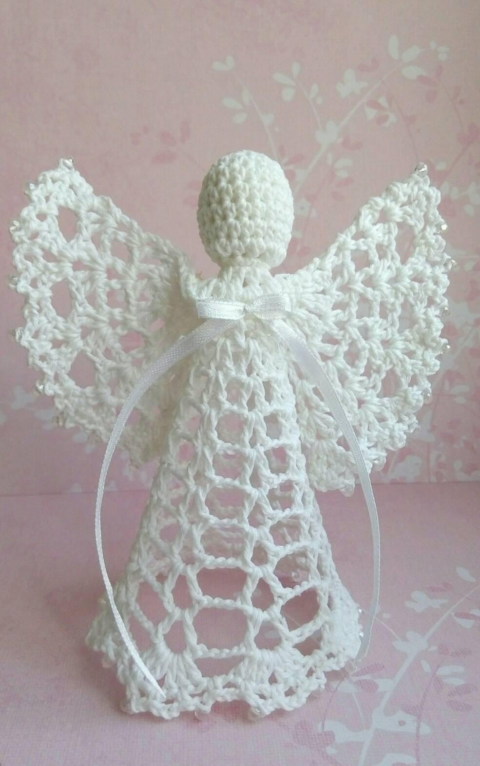 wei er engel spitze engel h keln angel perlen engel. Black Bedroom Furniture Sets. Home Design Ideas