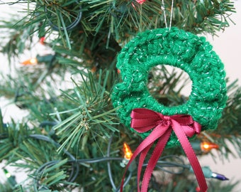 Crochet Christmas Ornament, Sparkly Green Wreath with Maroon Ribbon