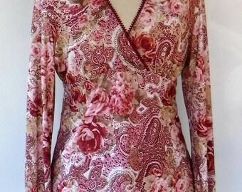 Vintage Self Esteem top/Rose pink burgundy bouse/festival Bohemian top/ L blouse/rose print long bell sleeve tunic vtg stretch tunic top