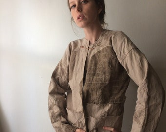 Hand Painted Canvas Bomber Coat with Paneled Sleeves Naturally Dyed Vintage Linen