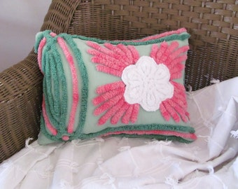green pillow cover PINK SPLASH pink chenille cushion cover 12 X 16 white rose cottage chic shabby style green pillow case pillow sham