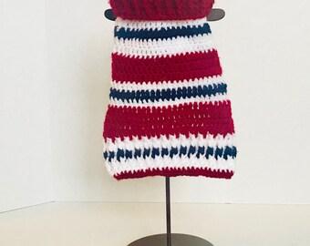 Dog Sweater/Nautical/Small Dog Clothes/Dog Coat/Dog Apparel/Handmade/Crochet