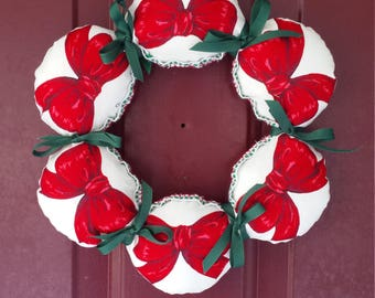 Holiday Wreath - Ribbons and Bows - Christmas Decoration - Holiday Decor - Festive Wreath - Upcycled Vintage - Vintage X-Mas