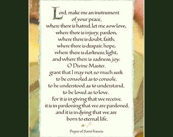 "St Francis Prayer 8x10"" calligraphy print, Lord make me an instrument, spiritual quote, inspirational print, spiritual wall art"