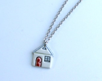Ceramic Miniature House, Hand Built  Porcelain Pendant with 20inch Chain