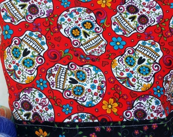 Large WIP Zipper Project Bag, Wedge Bag, Sugar Skulls, Day of the Dead, Dia De Los Muertos Zippered Project Bag, Knitting bag, Zipper
